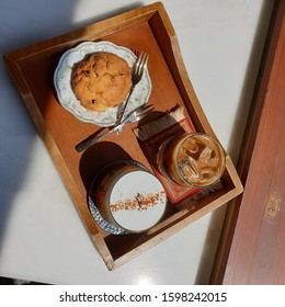 Coffee and cookie, Desert time in cafe, healing time, cookie time, cafe healing, display coffee and cookie