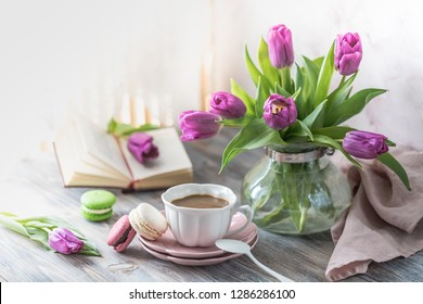 Coffee with cookies for Breakfast with flowers on white background.