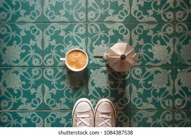 Coffee and cool floor