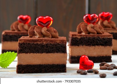 Coffee cream cake with red hearts on Valentines Day