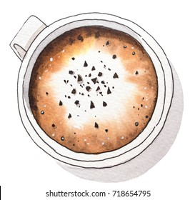 Coffee with cream and chocolate. Hand drawn watercolor illustration.