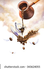 Coffee creative. Watercolor illustration