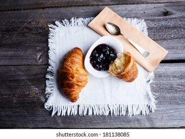 coffee and croissant. breakfast table