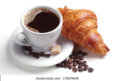 Coffee and croissant on white background