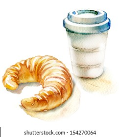 coffee and croissant. watercolor painting on white background