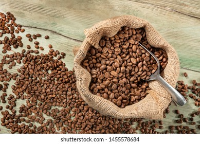 Coffee crop in sack Coffee heap with great texture and ambiance