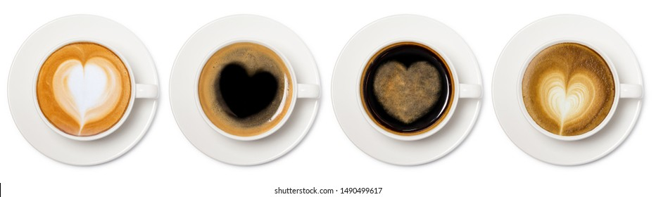 coffee cup assortment with heart sign top view collection isolated on white background.