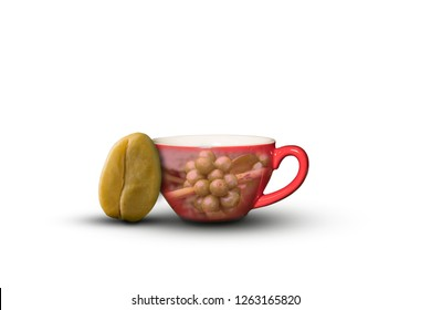 coffee cup and coffee bean isolated on white background.