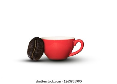 coffee cup and coffee bean isolated on white background