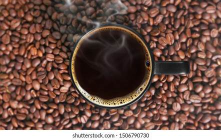 Coffee cup and coffee  a beans