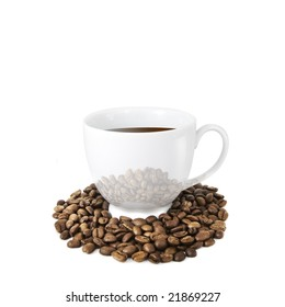 Coffee cup with coffee beans isolated on white