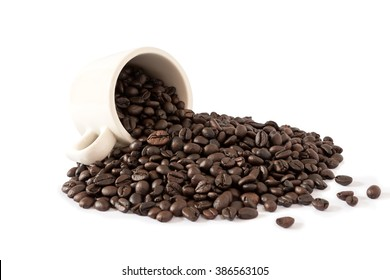 coffee cup and coffee beans, isolated on white background, file includes an excellent clipping path
