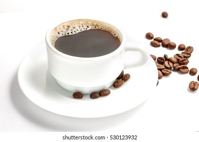 Coffee cup with beans isolated on white. Path included