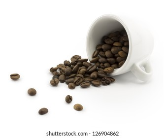 coffee cup and coffee beans on a white background