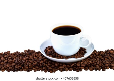 Coffee cup and beans on a white background. Coffee border.