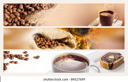 Coffee cup and beans. Set of three web banners.
