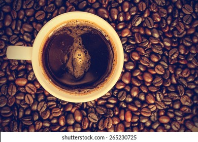Coffee cup and beans - vintage effect style pictures