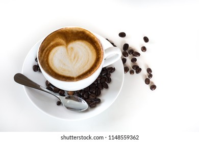 Coffee cup with coffee beans with white background