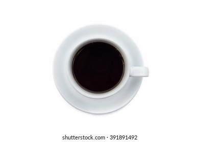 coffee cup with black coffee on white background, top view