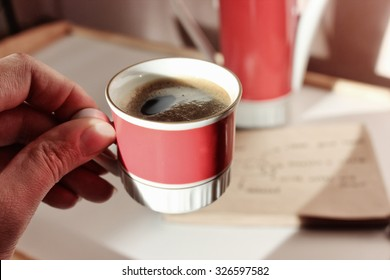 a Coffee cup or Coffee break, Good morning, Good day, Notes, New day, Coffee pause, Productivity, Coffee cup, Planning for future, Planning, Prepare, Happy day, Lucky day, New day, Coffee art