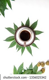 Coffee cup and cannabis concept with beans, nugs and marijuana leaves isolated on white, marijuana edibles concept