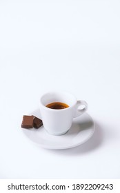 Coffee cup with chocolate  on a white background.Cup of espresso.