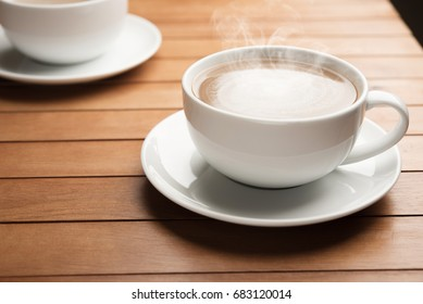 Coffee cup couple on wood table in cafe aroma fresh life style
