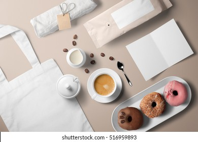 Coffee cup with donuts, breakfast set, including white fabric bag, blank card template and coffee package, top view.