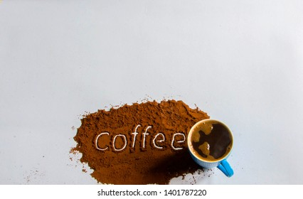 Coffee cup full of black coffee on the white background with text. - image