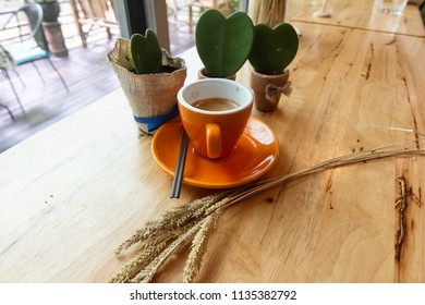 Coffee in a cup and Heart shaped cactus on the wood table