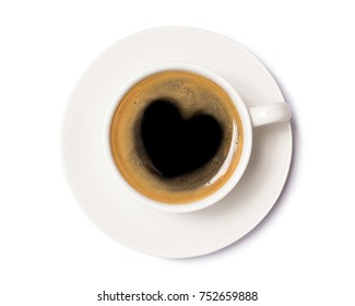 coffee cup with heart sign, top view isolated on white background,