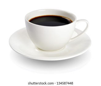 Coffee in a cup isolated on white background. Clipping Path included.