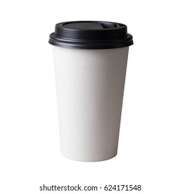 Coffee cup, isolated on white background. Take away beverage, cardboard vessel.