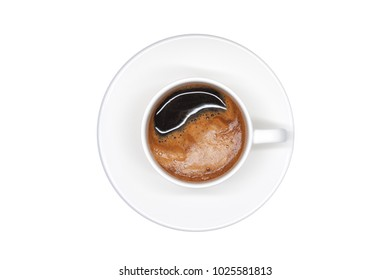 coffee cup isolated top view on white background