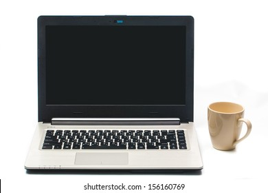 Coffee cup with laptop isolated on white background