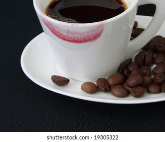 coffee cup with lipstrick