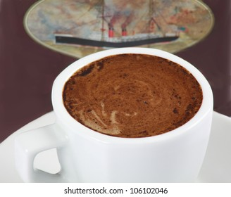 Coffee cup with milk