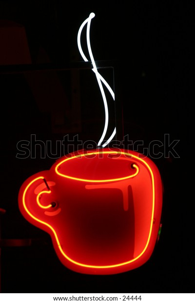 coffee cup neon sign taken in time laps (bulb exposure) for maximum effect