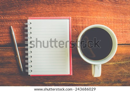 Coffee cup with note book - Vintage effect style pictures