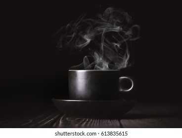 Coffee cup on black