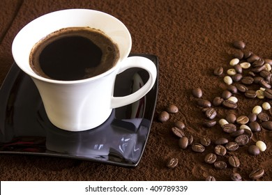 Coffee cup on a brown background