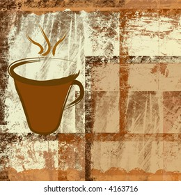Coffee cup on brown grunge frames background