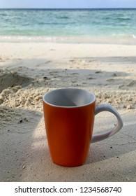 coffee cup on the Maldivian island