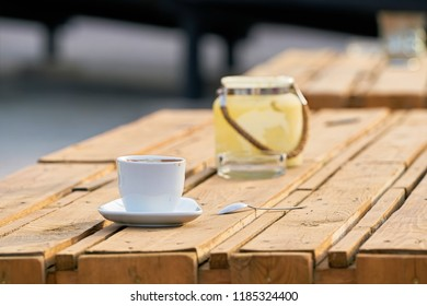 Coffee cup on the table of a beach bar in Magdeburg