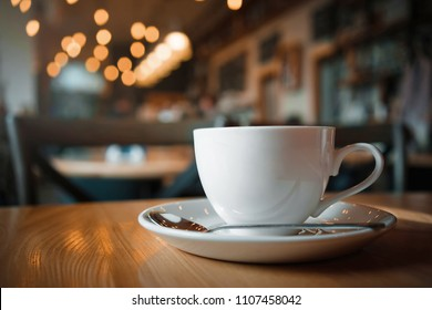 Coffee cup on the table. Cafe.