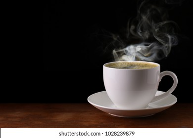 coffee cup On wooden black background