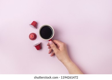 Coffee Cup Red Cofffee Capsules Pink Background Cookies Christmas background Top view Flat Lay