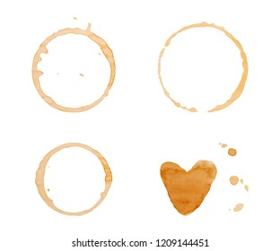 Coffee cup rings isolated on a white background set