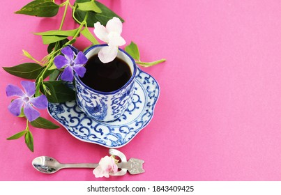 coffee cup and saucer with natural flowers, natural flowers photography