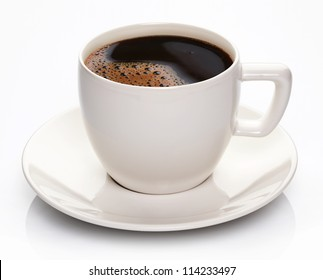 Coffee cup and saucer on a white background.